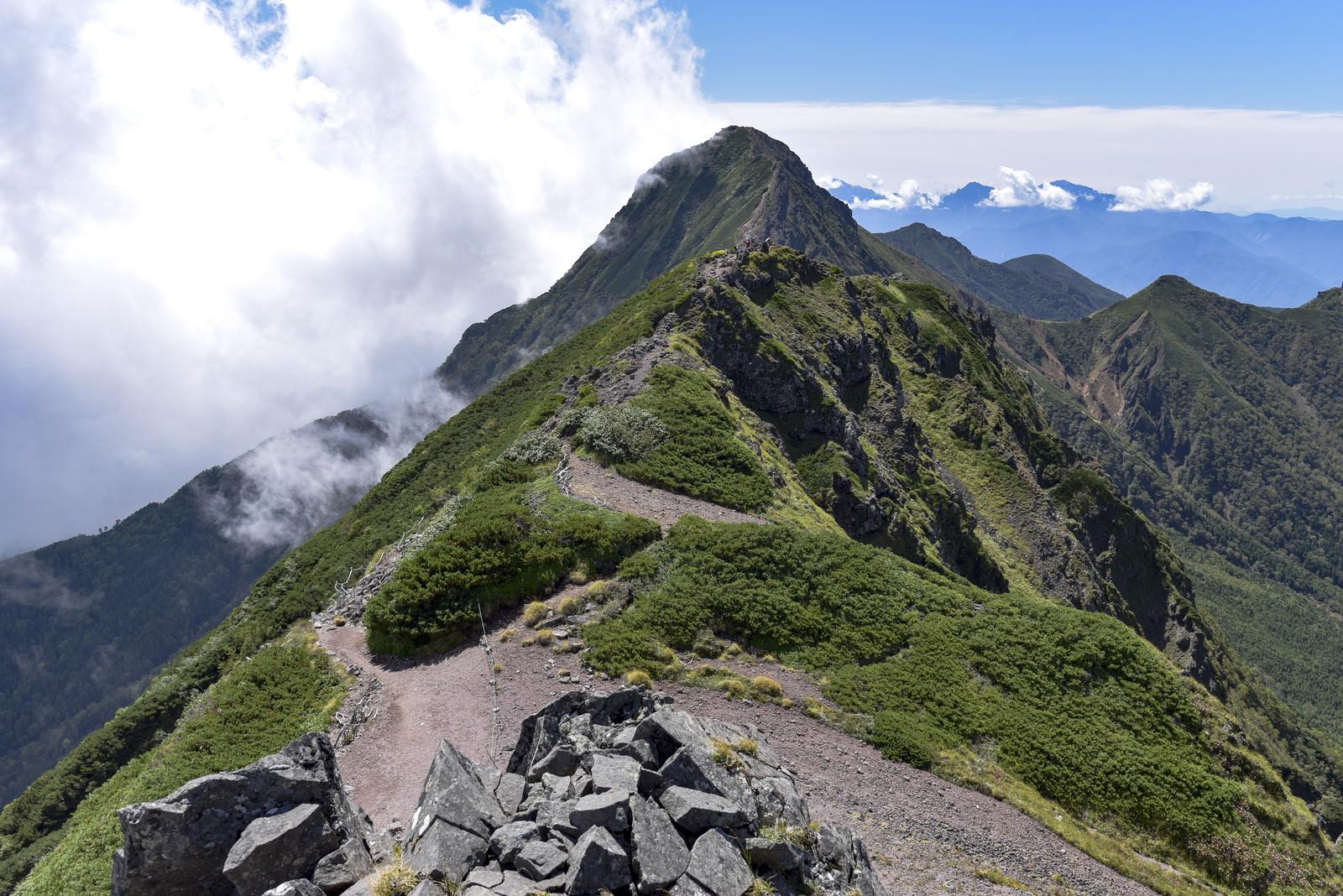 「横岳登山道から見る赤岳の景色」の写真