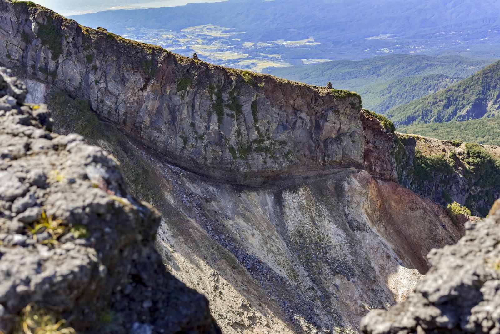 「硫黄岳の爆裂火口の壁(赤岳)」の写真