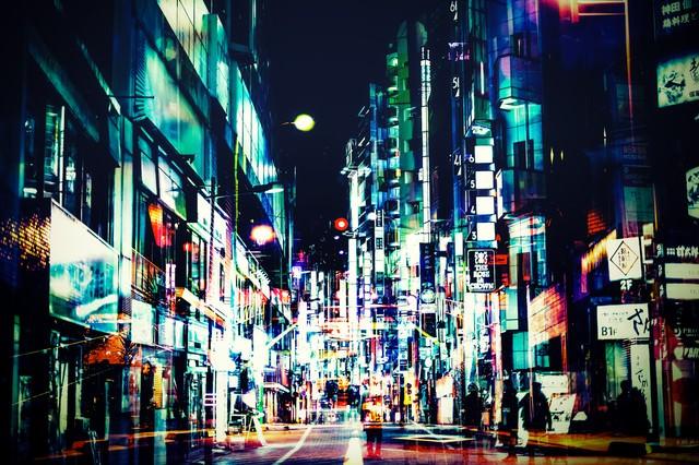 神田の夜(フォトモンタージュ)の写真