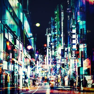 「神田の夜(フォトモンタージュ)」の写真素材