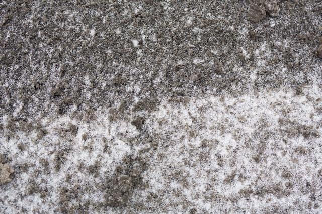 降り始めた雪と泥の写真