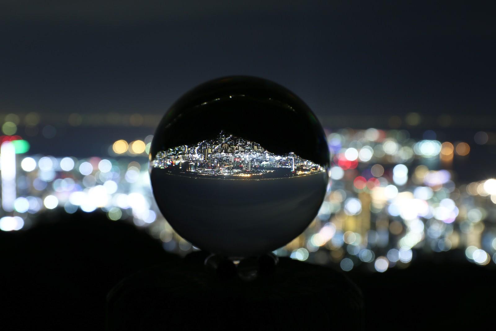「ガラス玉に映る反転した夜景」の写真