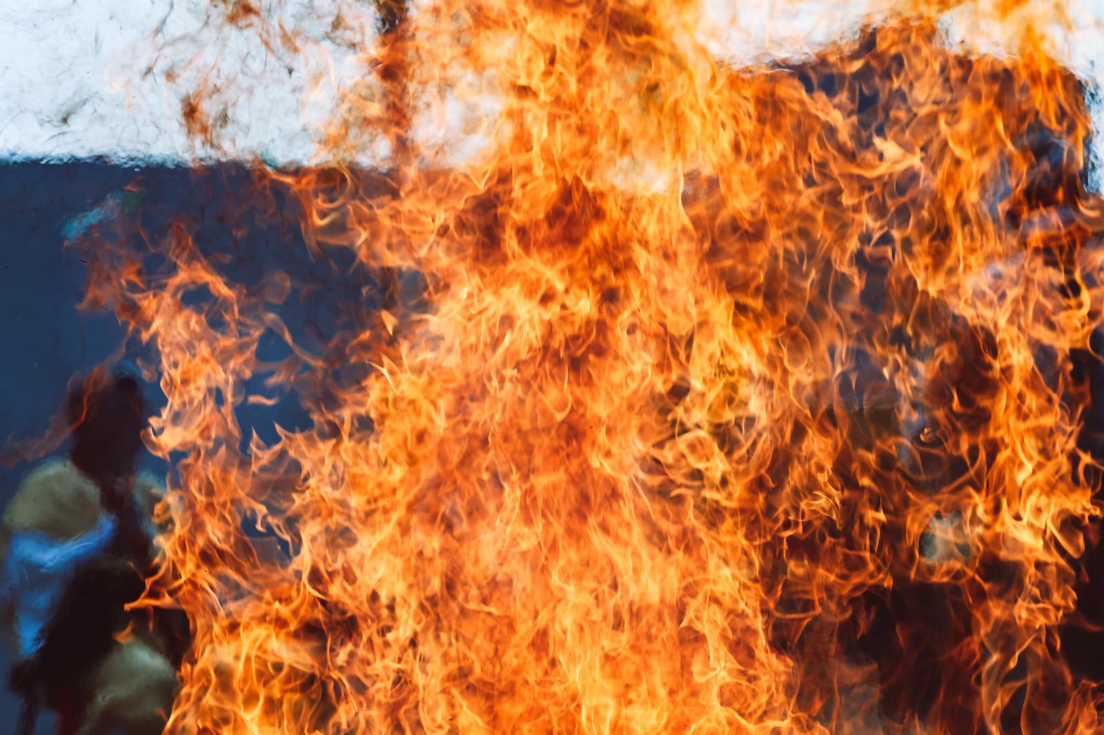 「火炎の揺らぎと陽炎(門戸厄神)」の写真