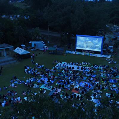 「徳之島で開催された野外シネマのイベント(空撮)」の写真素材