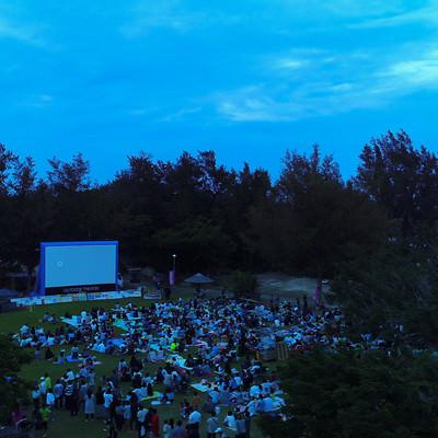 野外映画で夕涼みの写真