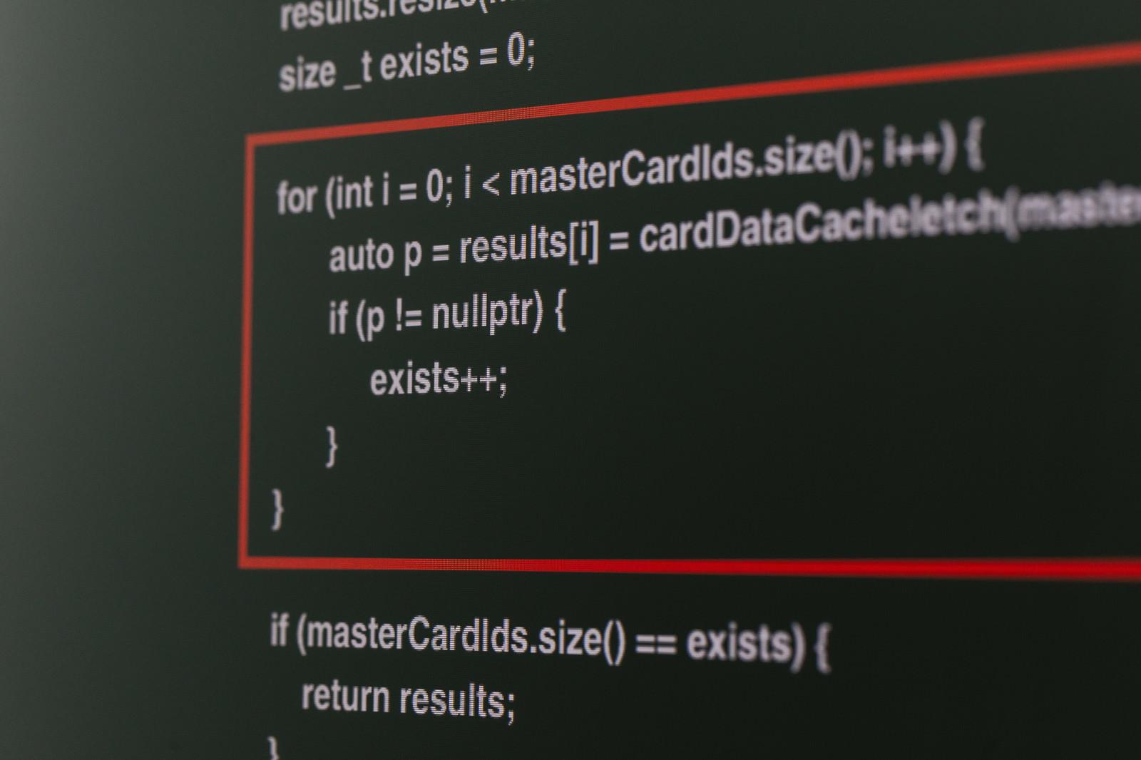 「説明箇所を赤線で囲むC++のソースコード」の写真
