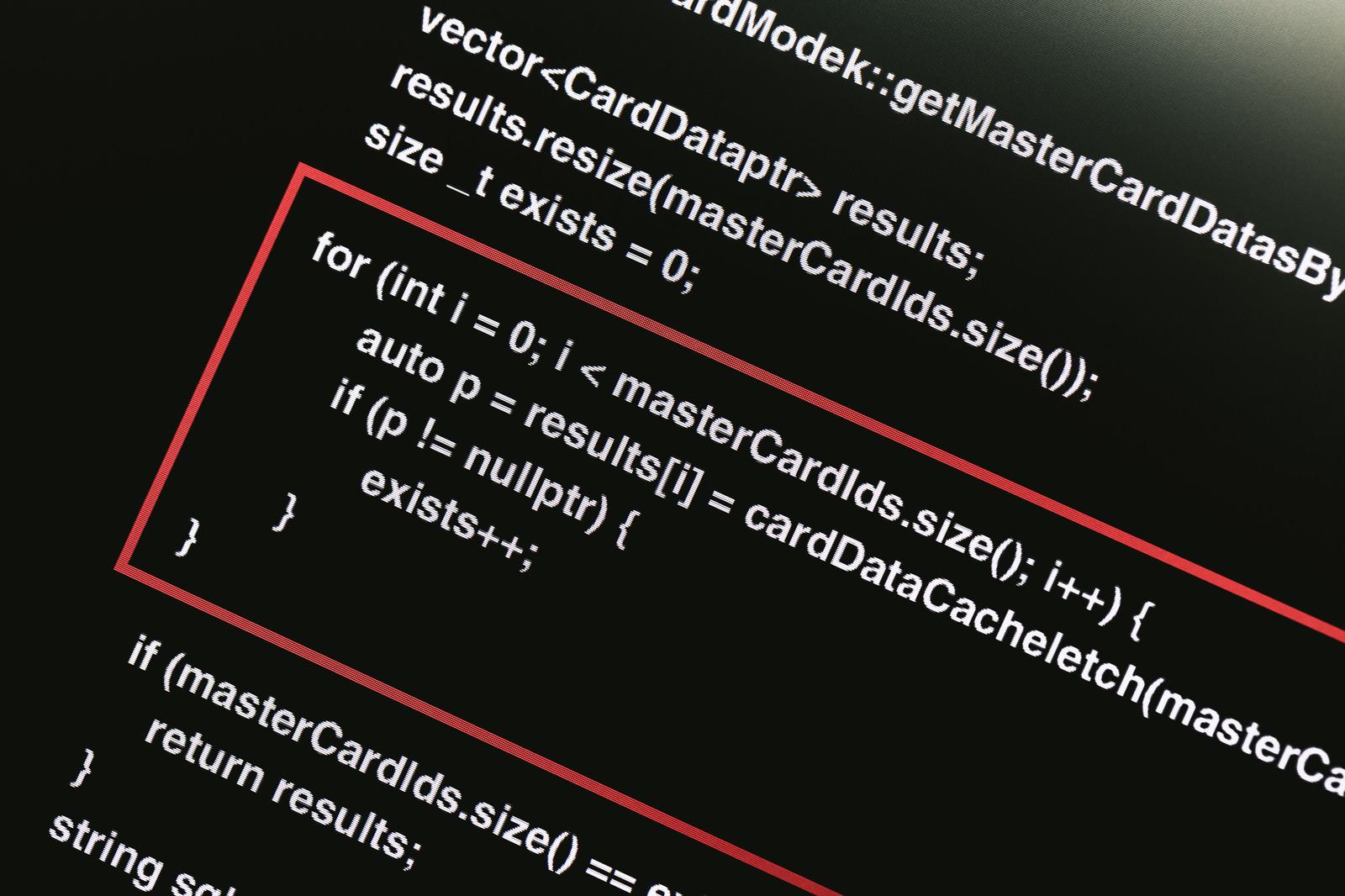 「ソースコードを開示し説明箇所を赤く囲む」の写真