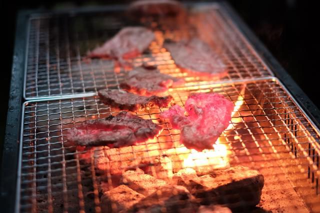 炭火で網焼きした肉