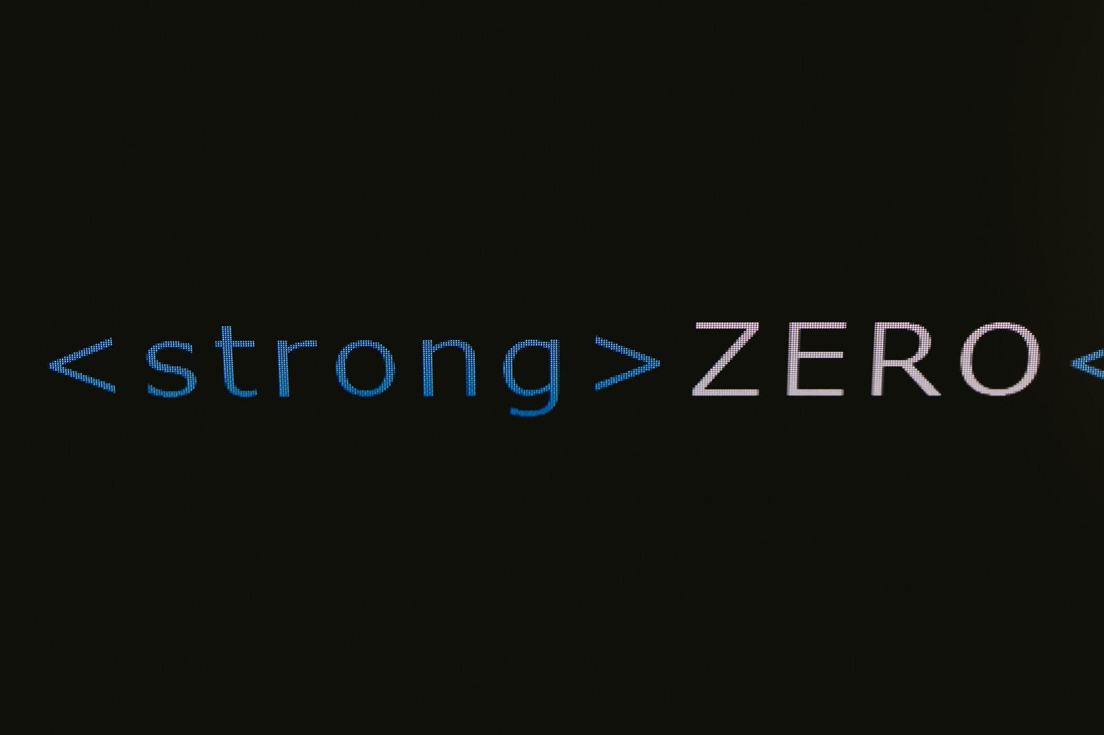 「ZEROを強調するstrongタグ」の写真