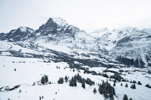 冬のアルプス山脈(スイス)の写真
