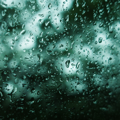 不穏な雨(深い森の中を走る窓ガラスの水滴)の写真
