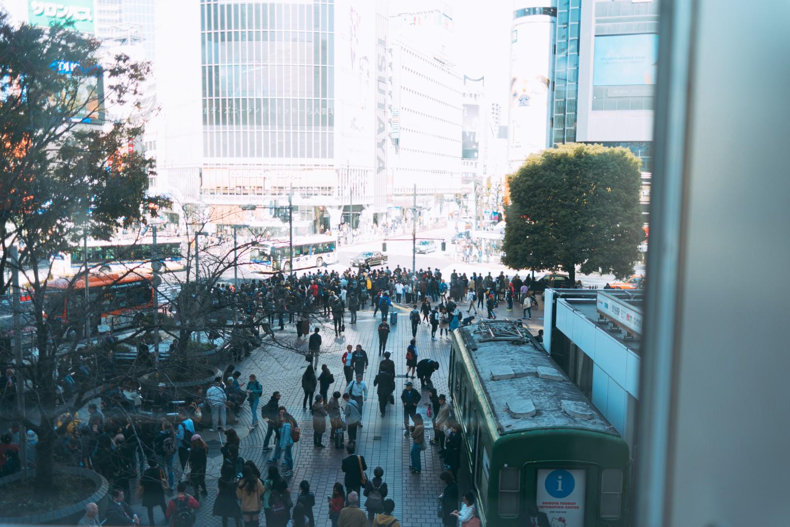 「渋谷スクランブル交差点前の密な人混み」の写真