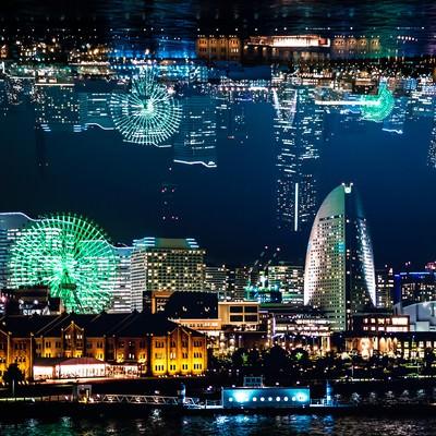 「横浜みなとみらいの夜景(フォトモンタージュ)」の写真素材
