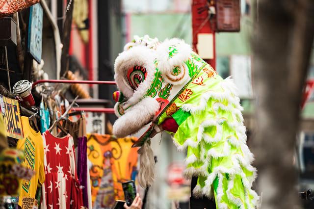 中国旧正月(春節)獅子が舞う横浜中華街の写真