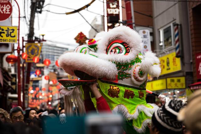 横浜中華街の採青(ツァイチン)の写真