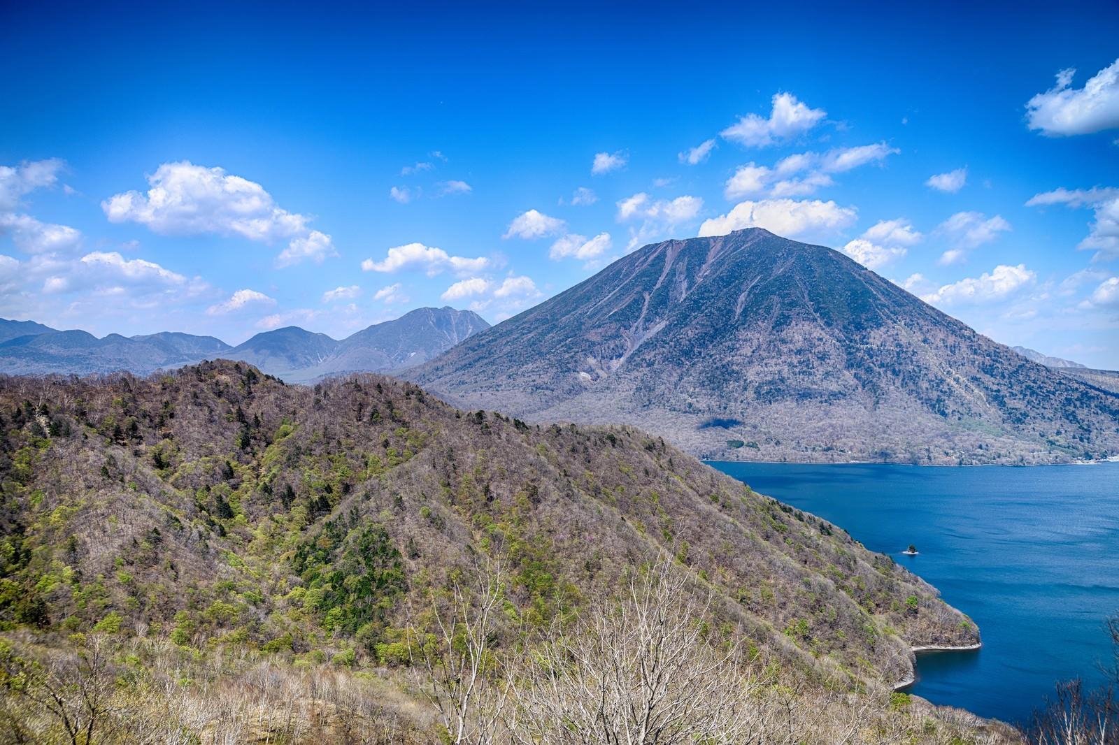 「中禅寺湖と新緑の男体山」の写真