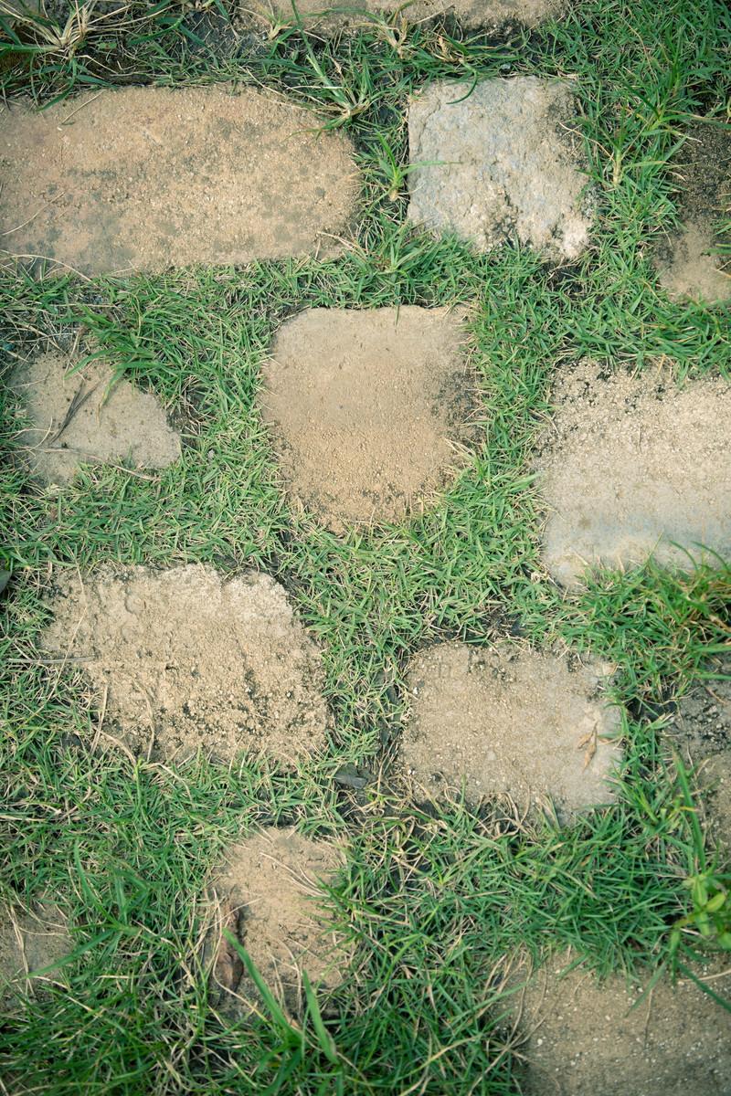 「芝の上に置かれた不揃いな石畳(テクスチャ)」の写真