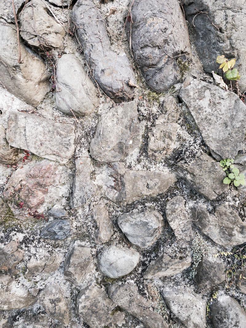 「コンクリートで固めた石(テクスチャー)」の写真