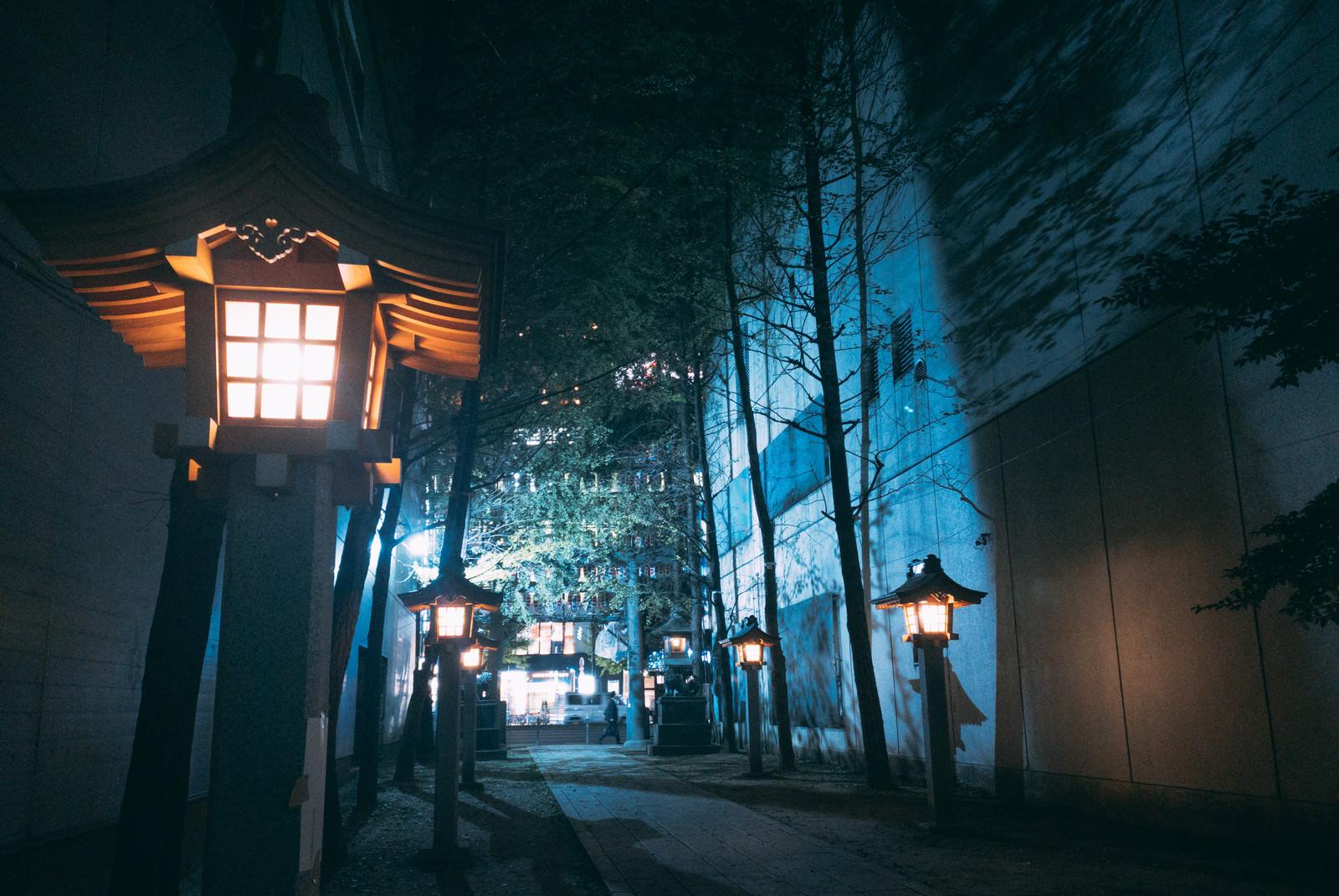 「雑居ビルの間にある新宿花園神社の入り口」の写真