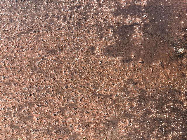 鍛金中の銅板(テクスチャ)の写真