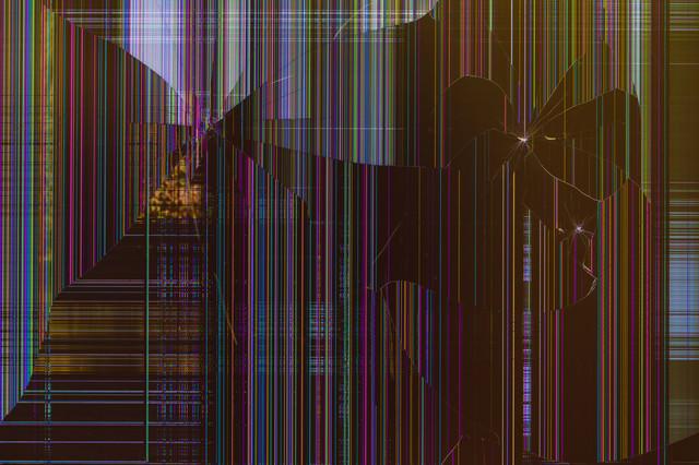 故障して表示がおかしい液晶モニター(テクスチャ)の写真
