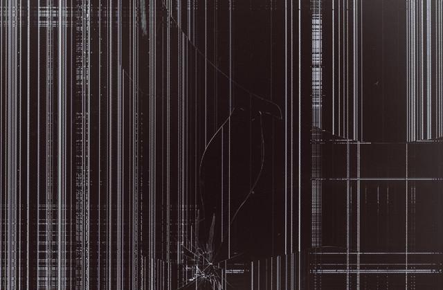 破損して表示がバグった液晶モニターの写真