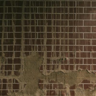 「剥がれ落ちたタイルの壁(テクスチャー)」の写真素材