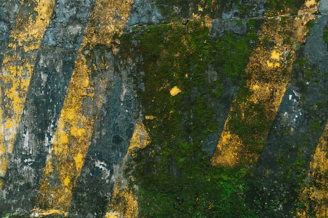 ひどく汚れた黄色と黒の警告壁の写真