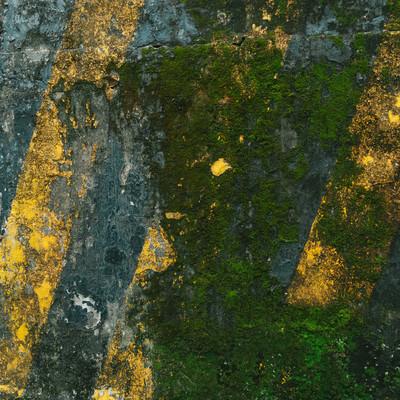 「ひどく汚れた黄色と黒の警告壁」の写真素材