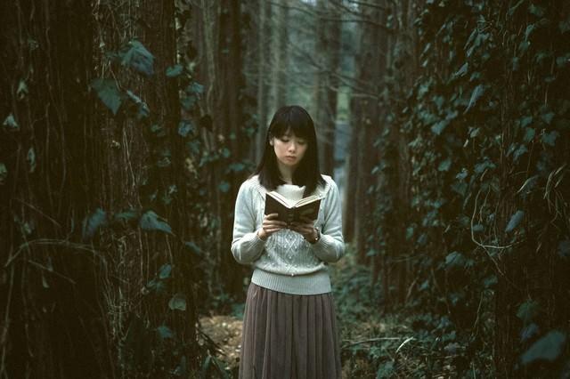 深い森に迷い込んだ読書美女の写真