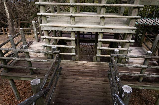 木製遊具や砦(崎野自然公園)の写真