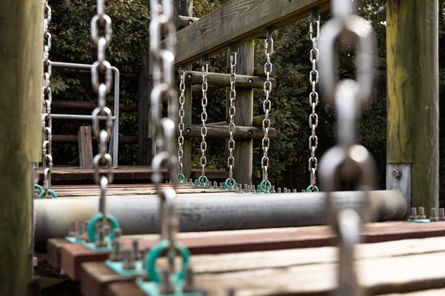 鎖で繋がれがアスレチックの吊橋の写真