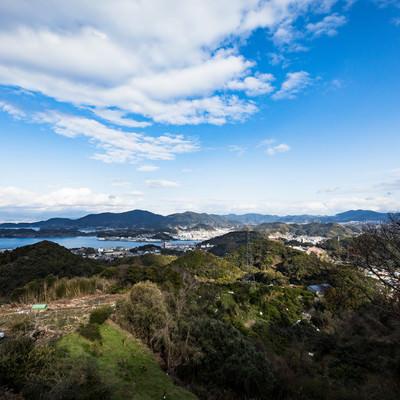 鳴鼓岳から見下ろす時津町の港の写真