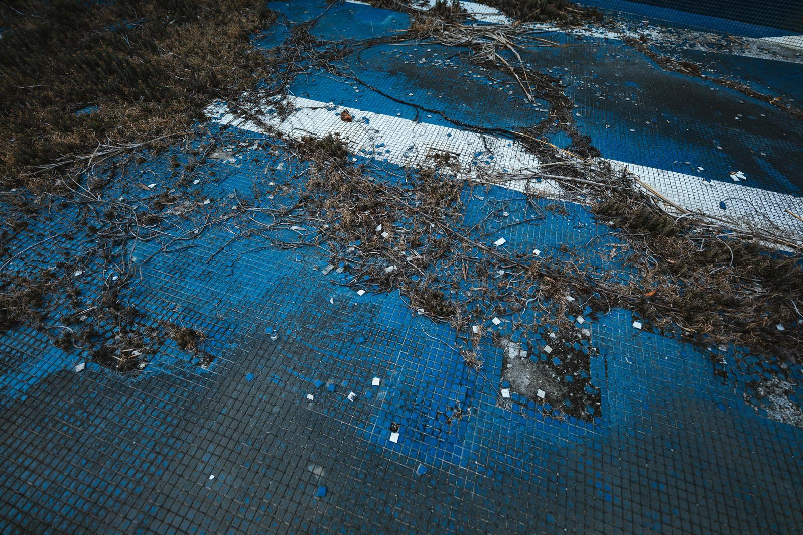 「タイルが剥がれたプール跡(廃墟)」の写真