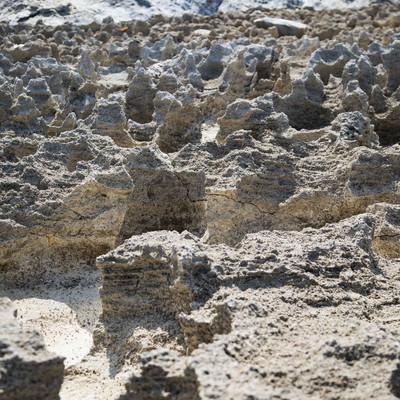 「メランジ堆積物とゴツゴツした隆起サンゴ礁」の写真素材