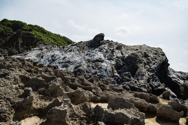 犬田布海岸のメランジ堆積物の写真