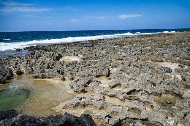 隆起サンゴ礁でゴツゴツした犬田布海岸の写真