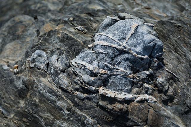 堆積物がメランジ状に混じりあった岩の写真