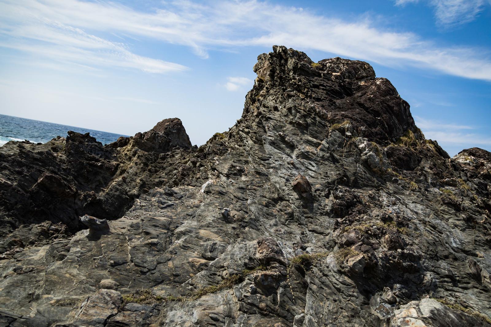 「泥岩と砂岩が引きちぎられて混ざったメランジ堆積物」の写真