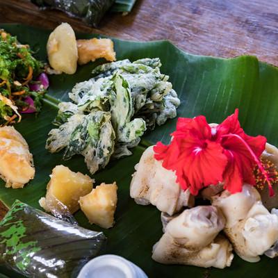 「あおさの唐揚げなど徳之島の伝統料理」の写真素材