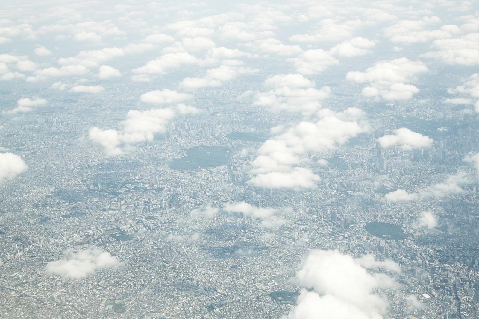 「雲の上から東京の様子」の写真