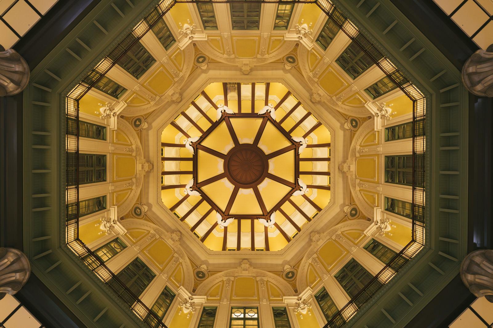 「東京駅ドーム天井の真上の様子」の写真