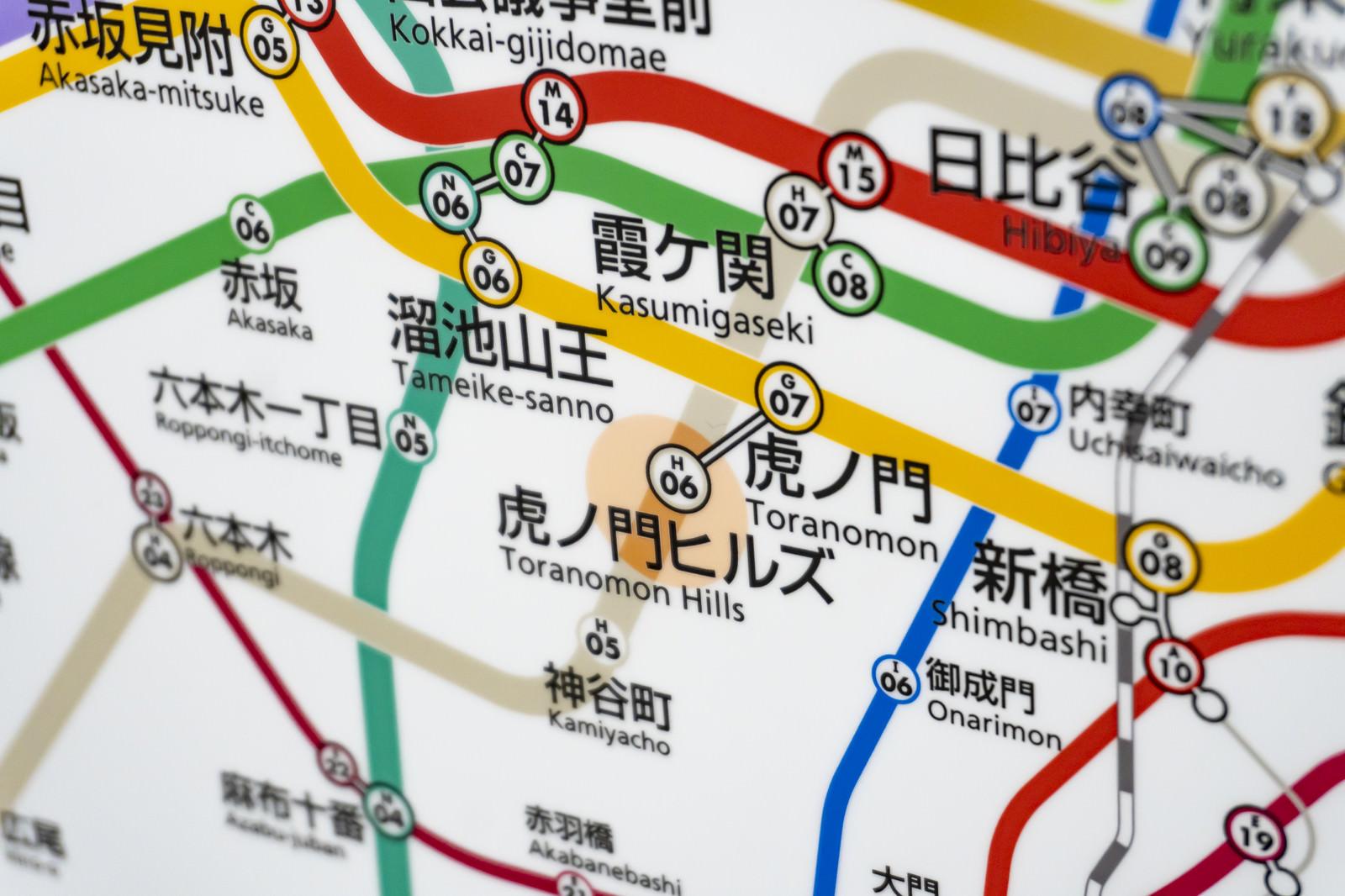 「虎ノ門ヒルズ駅が新設され新しくできた路線図」の写真
