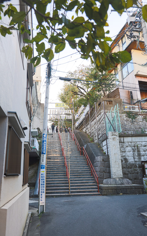 「東京四谷須賀神社の階段(酉の市開催中)」の写真