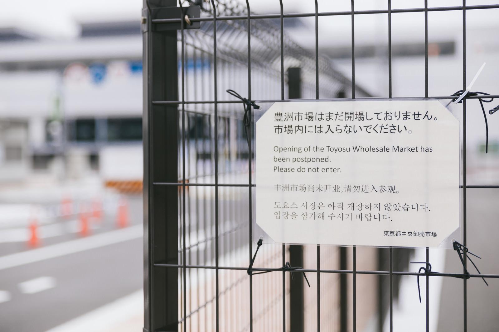「豊洲市場はまだ開場しておりません。市場内には入らないでください。と書かれた案内」の写真