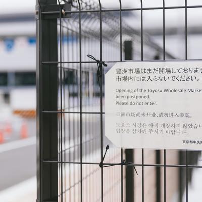 「豊洲市場はまだ開場しておりません。市場内には入らないでください。と書かれた案内」の写真素材