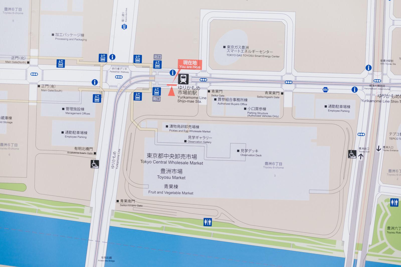 「ゆりかもめ市場前駅のマップゆりかもめ市場前駅のマップ」のフリー写真素材を拡大