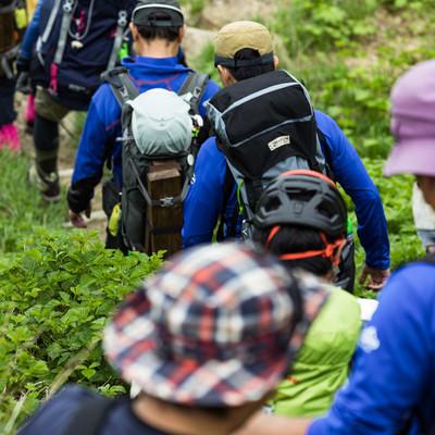 列を作って下山する登山者の写真