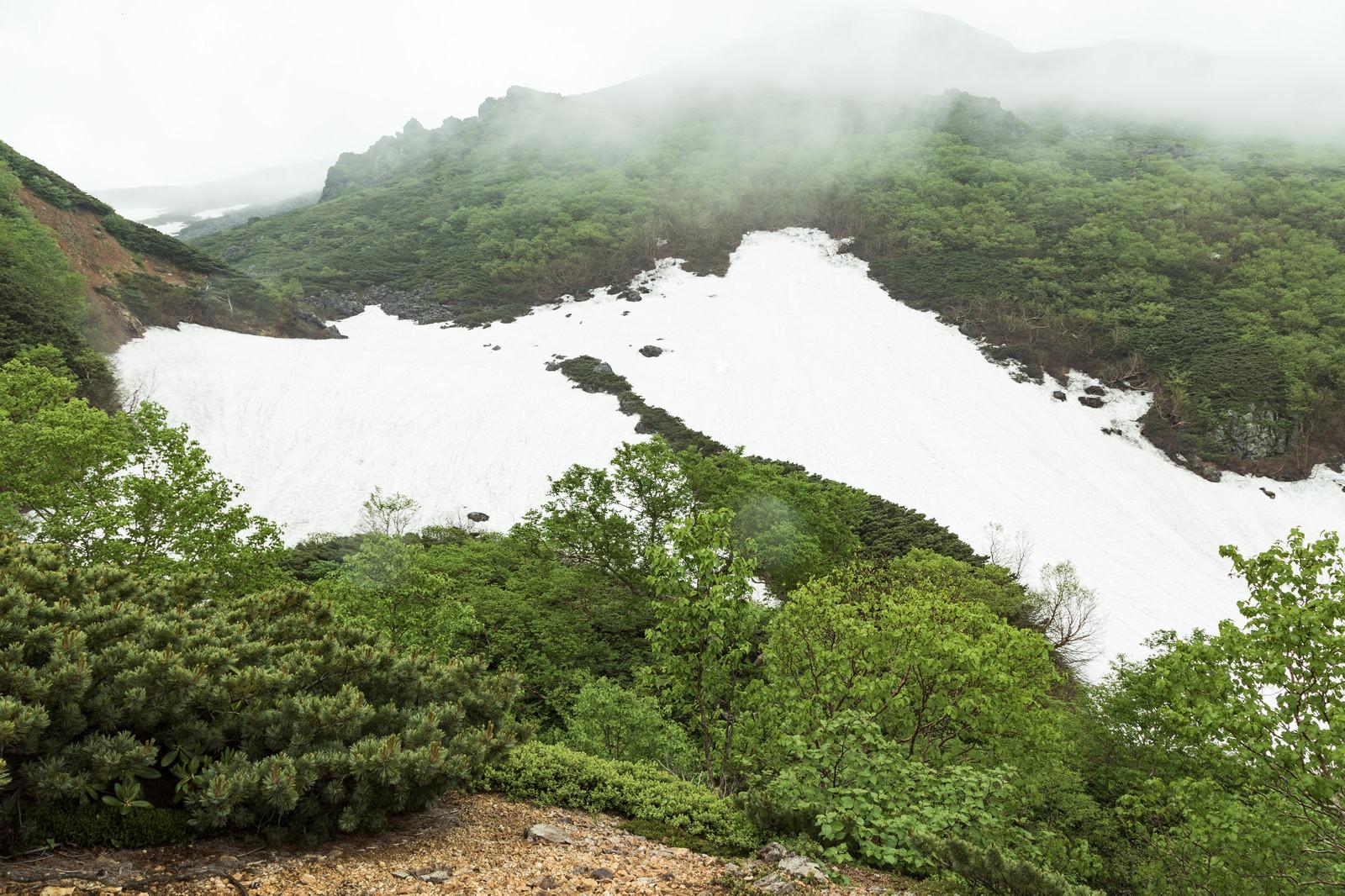 「雪が残る山間」の写真