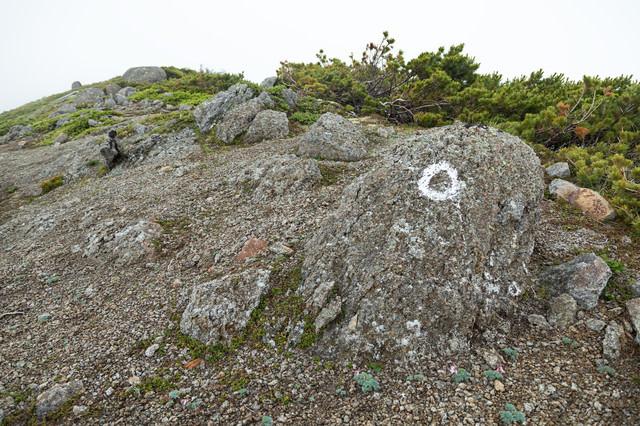 登山ルートの目印が書かれた岩の写真
